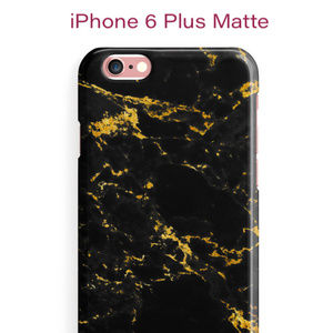 Black and Gold Marble Matte iPhone 6 Plus Case